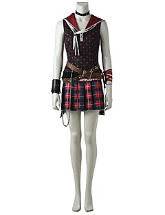 cheap Videogame Costumes-Inspired by Final Fantasy Cosplay Video Game Cosplay Costumes Cosplay Suits Polka Dot Plaid/Check Sleeveless Vest Top Skirt Belt Necklace