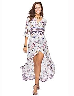 cheap Maxi Dresses-Women's Beach Boho Loose Dress - Floral Print High Waist Maxi V Neck