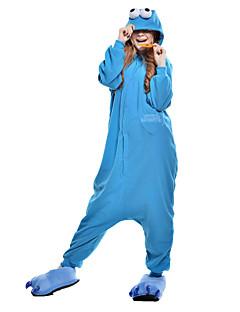 billige Kigurumi-Kigurumi-pysjamas Monster Cookie Anime Onesie-pysjamas Kostume Polar Fleece Syntetisk Fiber Blå Cosplay Til Voksne Pysjamas med dyremotiv