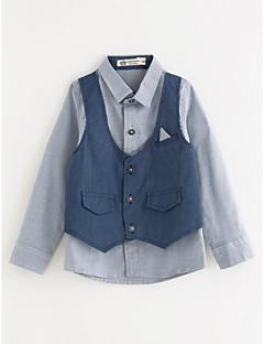 billige Overdele til drenge-Drenge Skjorte Ensfarvet, Bomuld Vinter Blå Marineblå