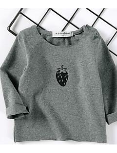 billige Babyoverdele-Baby Pige T-shirt Maleri, Bomuld Langærmet Normal Hvid Lyserød Navyblå Grå Gul