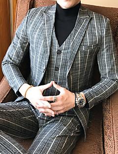 baratos -Masculino Ternos/Conjuntos Para Noite Casual Outono,Listrado Padrão Algodão Poliéster Colarinho de Camisa Manga Comprida Oversized
