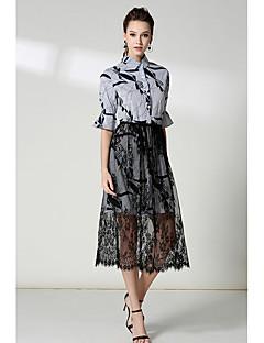billige SS 18 Trends-Dame Løstsittende Kjole - Stripet Skjortekrage Høyt liv Knelang