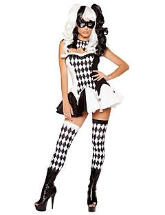 billige Halloweenkostymer-Burlesk/Klovn Cosplay Kostumer Kvinnelig Halloween Festival / høytid Halloween-kostymer Svart Pledd / Tern