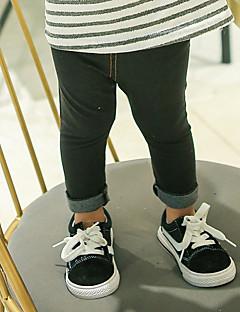 billige Bukser og leggings til piger-Pige Bukser Ensfarvet, Bomuld Bambus Fiber Spandex Forår Aktiv Blå Sort