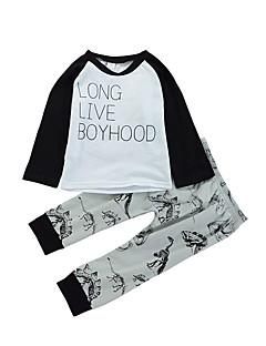 billige Tøjsæt til drenge-Drenge Tøjsæt Daglig Dyretryk Farveblok, Bomuld Forår Langærmet Afslappet Hvid