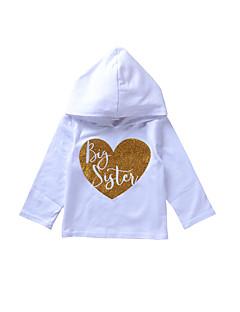 billige Hættetrøjer og sweatshirts til piger-Pige Hættetrøje og sweatshirt Daglig Ensfarvet Trykt mønster, Bomuld Forår Alle årstider Langærmet Simple Sødt Hvid