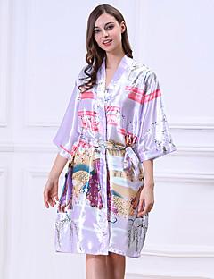 billige Moteundertøy-Dame V-hals Skjorter og kjoler Pyjamas - Helfarge