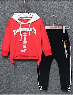 billige Tøjsæt til drenge-Drenge Daglig Bogstaver Tøjsæt, Polyester Alle årstider Langærmet Afslappet Grøn Sort Rød Gul