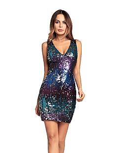 お買い得  レディースドレス-女性用 ボディコン ドレス - スパンコール, カラーブロック スパンコール ハイウエスト ディープVネック