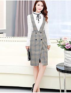 お買い得  レディースツーピースセット-女性用 セット ソリッド 千鳥格子 ドレス