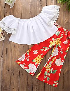 billige Tøjsæt til piger-Pige Tøjsæt Fest Daglig Ensfarvet Blomstret, Bomuld Polyester Forår Sommer Kortærmet Afslappet Sexet Rød