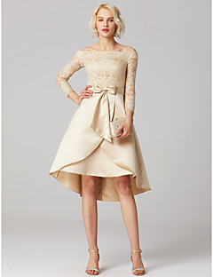 baratos Vestidos de Formatura-Linha A Princesa Assimétrico Renda Cetim Coquetel Vestido com Apliques Laço(s) Faixa / Fita de TS Couture®