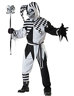 cheap -Burlesque Clown Cosplay Costume Men's Halloween Festival / Holiday Halloween Costumes Black Plaid/Check