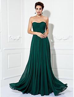 A-line hercegnő vállnélküli sweep / ecsetvonat chiffon báli ruhában, melyet a ts couture® leplez