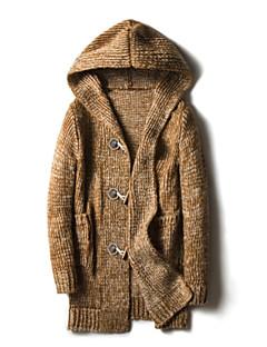 tanie Męskie swetry i swetry rozpinane-Męskie Długie Sweter rozpinany Solidne kolory Długi rękaw