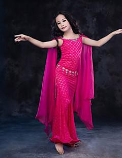 tanie Dziecięca odzież do tańca-Taniec brzucha Suknie Wydajność Jedwab Koronka Mléčné vlákno Koronka Bez rękawów Naturalny Ubierać