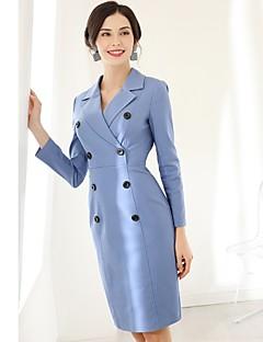 Χαμηλού Κόστους BAOYAN-Γυναικεία Καθημερινό Λεπτό Θήκη Φόρεμα - Μονόχρωμο Ως το Γόνατο Λαιμόκοψη V
