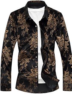 billige Herremote og klær-Bomull Langermet,Skjortekrage Skjorte Trykt mønster Vintage Ut på byen Herre