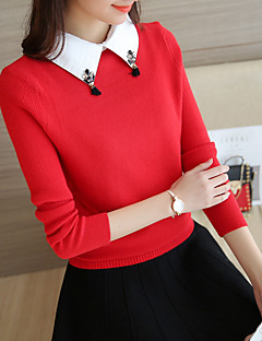 cheap Women's Sweaters-Women's Daily Simple Solid Shirt Collar Sweater Pullover, Long Sleeves Winter Fall
