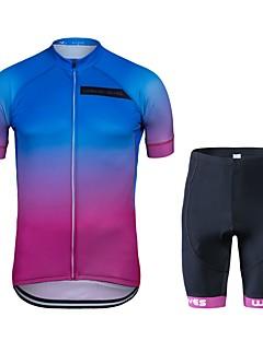 billige Sykkelklær-Wisdom Leaves Kortermet Sykkeljersey med shorts - Blå+Rosa Sykkel Klessett, Fort Tørring Polyester Gradient / Elastisk
