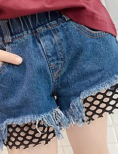 billige Bukser og leggings til piger-Pige Shorts Ensfarvet, Bomuld Sommer Normal Blå