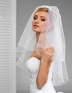 cheap Wedding Veils-Two-tier Cut Edge Veil Wedding Veil Elbow Veils 53 Rattan Ruffles Tulle