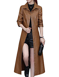 cheap -Women's Daily Casual Winter Fall Long Leather Jacket, Solid Shirt Collar PU