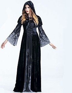billige Voksenkostymer-Vampyrer Grim Reaper Kjoler Kappe Alle Halloween Festival / høytid Halloween-kostymer Svart Ensfarget Tøffe hodeskaller Svart & Hvit