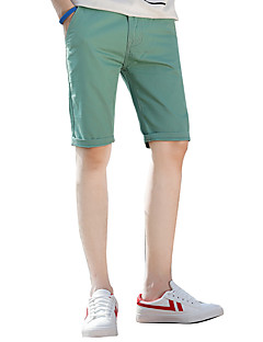 billige Herremote og klær-Herre Normal Enkel Gatemote Mikroelastisk Chinos Shorts Bukser, Lavt liv Bomull Ensfarget Sommer