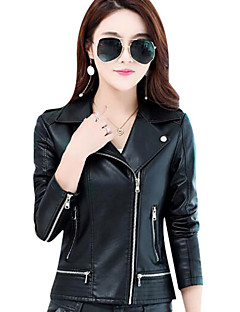 cheap -Women's Daily Going out Simple Casual Fall Short Leather Jacket, Solid Shirt Collar PU