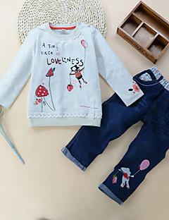 billige Tøjsæt til piger-Pige Tøjsæt Daglig Ferie Ensfarvet Blomstret Trykt mønster, Bomuld Forår Efterår Langærmet Simple Afslappet Hvid