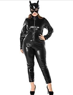 billige Voksenkostymer-Cosplay Kostumer Zentai Cosplay-kostymer Svart Ensfarget Trikot/Heldraktskostymer Spandex Jul Halloween Karneval Maskerade
