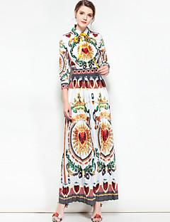 Χαμηλού Κόστους Μάρκες-Γυναικεία Βασικό / Μπόχο Βαμβάκι Swing Φόρεμα - Φλοράλ / Συνδυασμός Χρωμάτων Μακρύ Κολάρο Πουκαμίσου