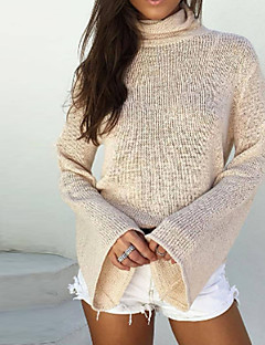 tanie Swetry damskie-Damskie Golf Flare rękawem Pulower - Bez pleców, Solid Color Długi rękaw
