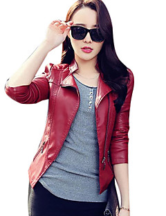 cheap -Women's Holiday Going out Simple Casual Street chic Winter Fall Short Leather Jacket, Solid Stand PU