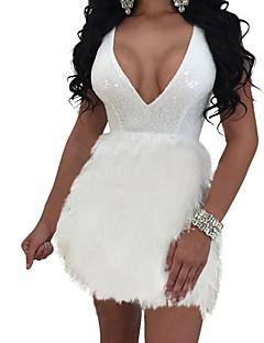 baratos Vestidos de Festa-Mulheres Para Noite Básico Bainha Rodado Vestido Côr Sólida Decote V Mini Branco