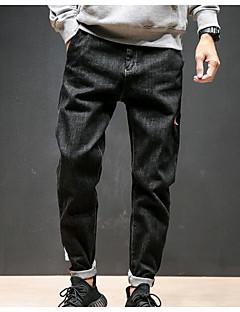 billige Herremote og klær-Herre Normal Enkel Mikroelastisk Jeans Bukser, Mellomhøyt liv Polyester Ensfarget Vinter