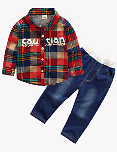 billige Tøjsæt til drenge-Drenge Tøjsæt Daglig Sport I-byen-tøj Ferie Skole Trykt mønster Houndstooth mønster Jacquard Vævning, Bomuld Simple Vintage Sødt