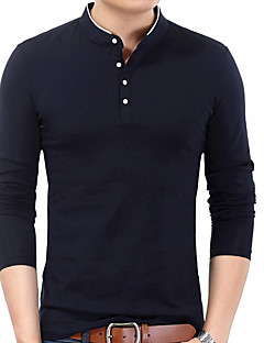 cheap Men's Tops-Men's T-shirt - Solid Colored Stand / Long Sleeve