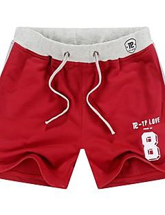 billige Herrebukser og -shorts-Herre Normal Enkel Uelastisk Rett Chinos Bukser, Medium Midje Polyester / bomullsblanding Ensfarget Sommer