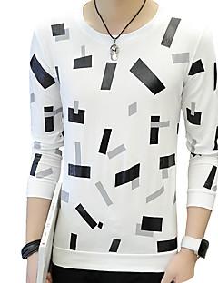 お買い得  メンズTシャツ&タンクトップ-男性用 Tシャツ ラウンドネック スリム ソリッド 水玉