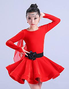 お買い得  ラテンダンスウェア-ラテンダンス ドレス 女の子 訓練 ポリエステル フリル 長袖 ハイウエスト ドレス