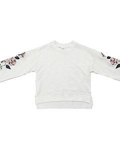 tanie Odzież dla dziewczynek-Bluza z kapturem / bluza Poliester Dla dziewczynek Codzienny Geometryczny Wiosna Długi rękaw Prosty White Navy Blue