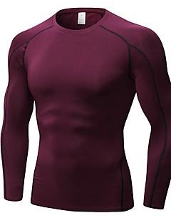 billige Løbetøj-Herre Løbe-T-shirt Langærmet Åndbarhed T-Shirt for Træning & Fitness Polyester Blå / Grå / Bourgogne L / XL / XXL