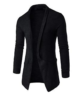 tanie Męskie swetry i swetry rozpinane-Męskie Kołnierzyk koszuli Długi Pulower Jednolity kolor Długi rękaw