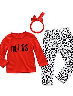 billige Babytøj-Baby Pige Tøjsæt Daglig Leopard, Bomuld Forår Langærmet Simple Rød