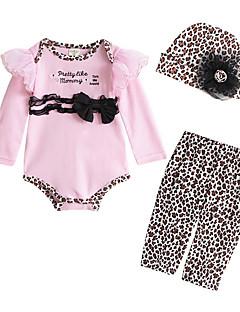 billige Sett med babyklær-Baby Pige Tøjsæt Daglig Sport Ensfarvet, Bomuld Polyester Forår Langærmet Sødt Afslappet Hvid Lyserød Rosa