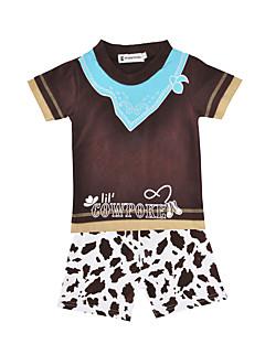 billige Tøjsæt til drenge-Unisex Tøjsæt Daglig Sport Dyretryk, Bomuld Sommer Kortærmet Afslappet Brun