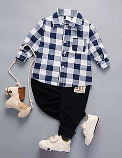 billige Tøjsæt til drenge-Drenge Tøjsæt Daglig I-byen-tøj Ensfarvet Ruder Jacquard Vævning, Bomuld Forår Efterår Langærmet Sødt Grøn Hvid